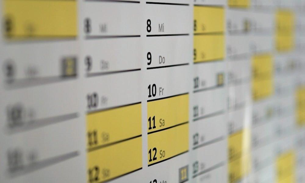 Il calendario delle ferie per il 2020